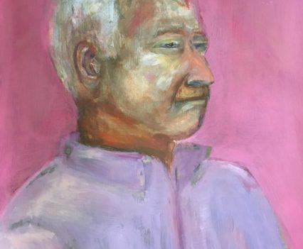 Mann vor rosa Hintergrund, Portrait gemalt