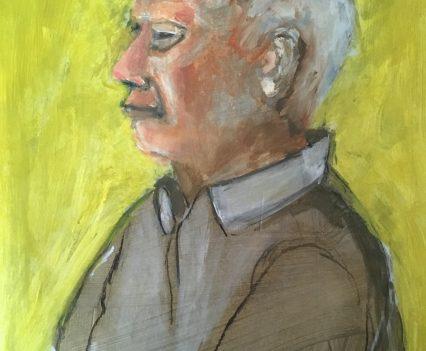 Mann vor gelben Hintergrund, Portrait gemalt