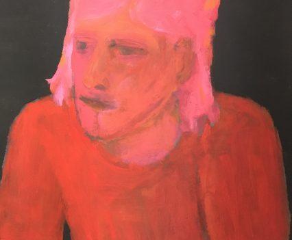 Frau in rot, Portrait gemalt