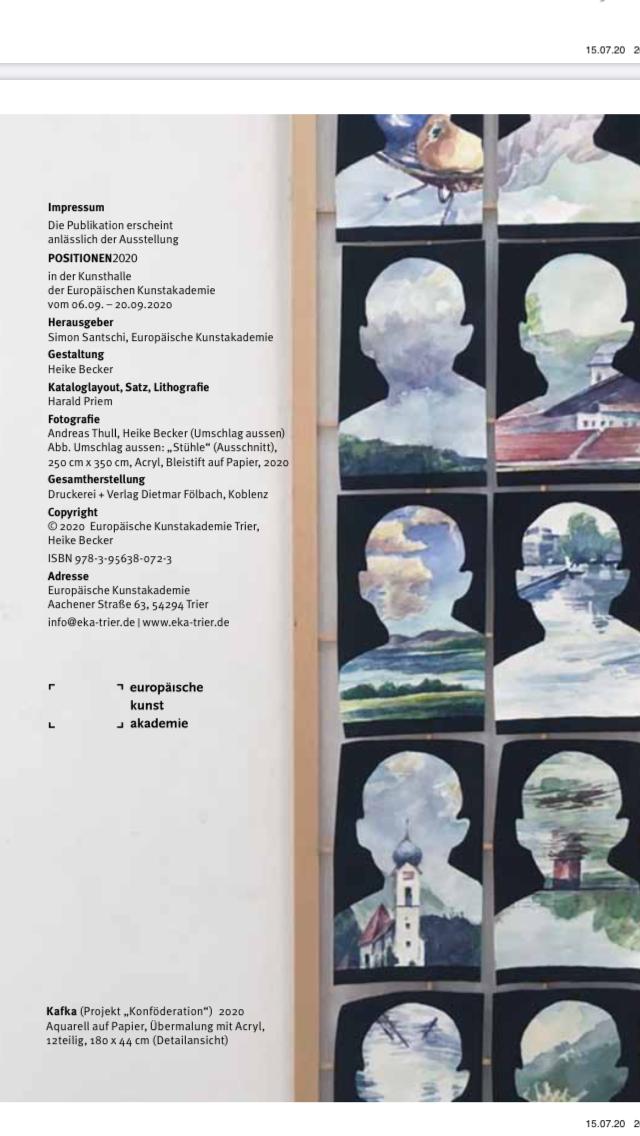 Foto von Ausstellungskatalog Positionen 2020 Übermalung mit Acryl