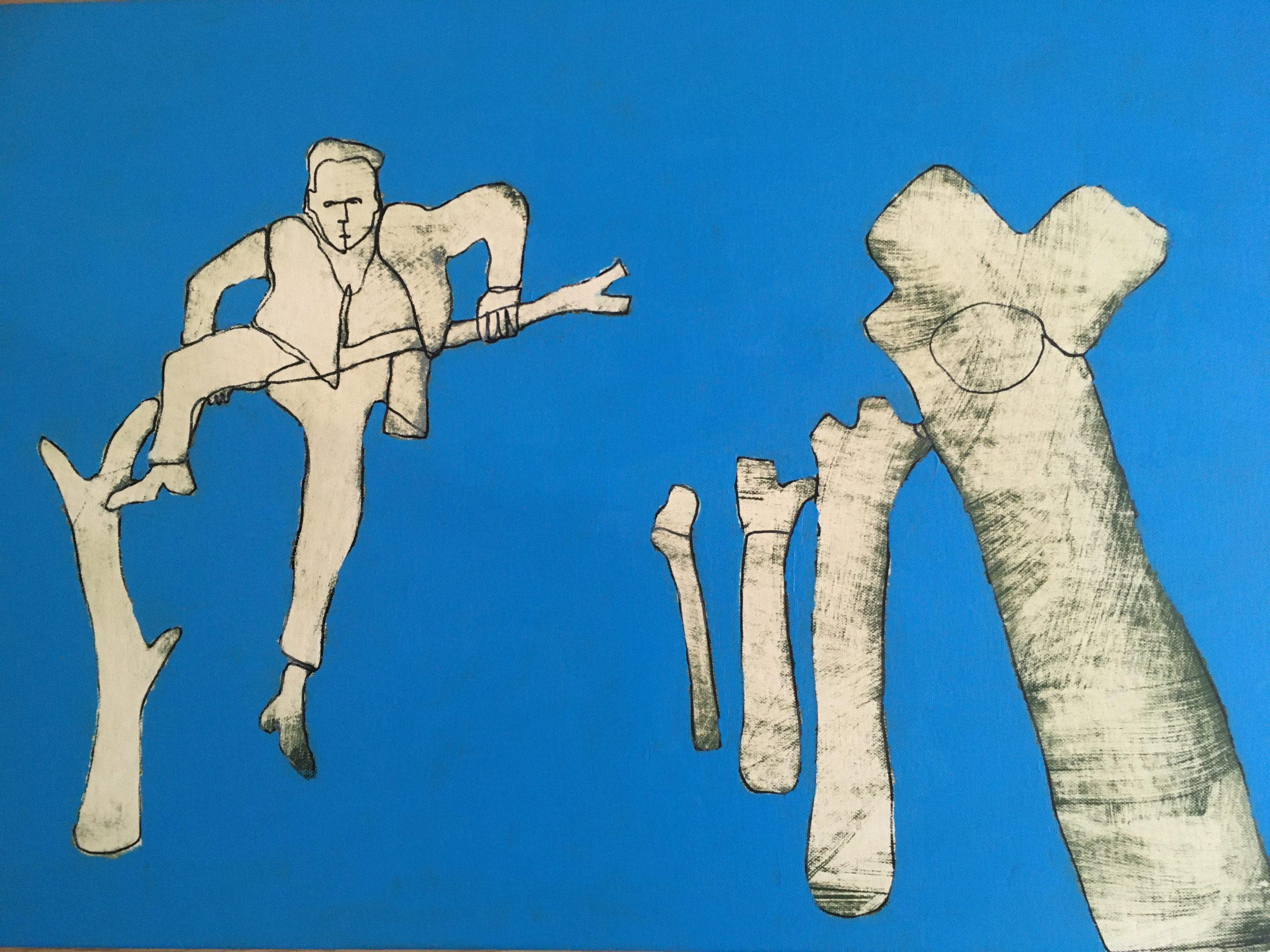 Zeichnung von Heike Becker aus dem Jahr 2021 coloriert in der Farbe Blau