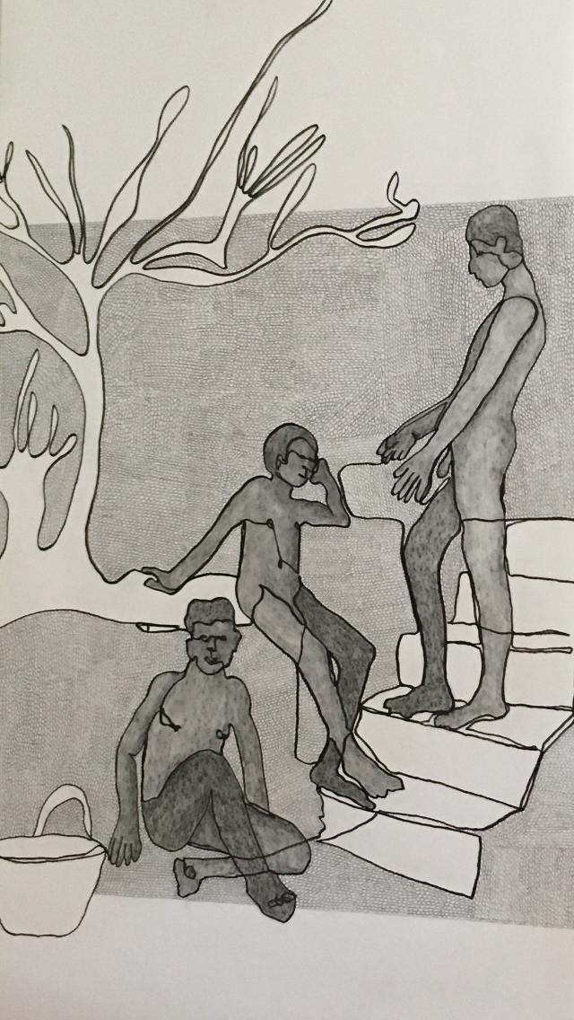 Zeichnung mit drei Personen von Künstlerin Heike Becker