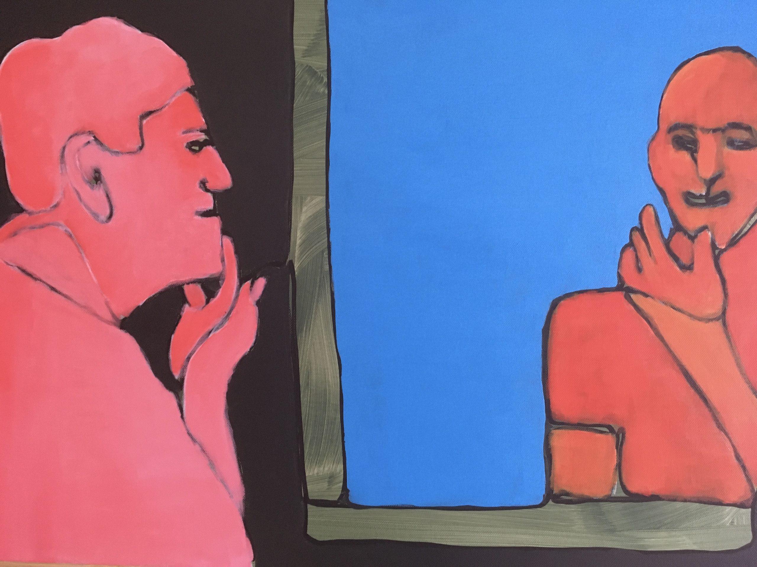 Person vor dem Spiegel Malerei in blau und rot von Heike Becker